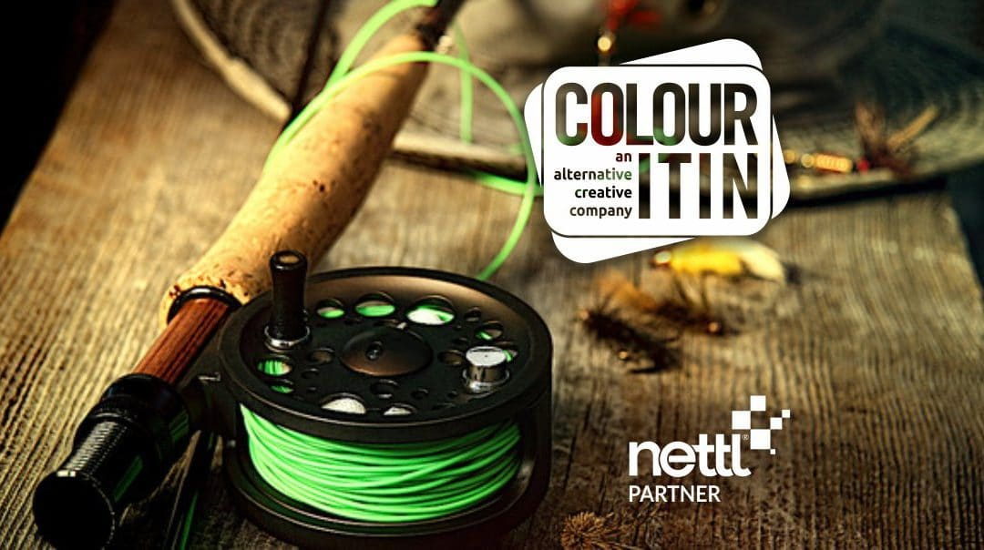 Fishing rod and reel with bright green line to illustrate the campaign to help clients acquire more contacts for their business. - Colour It In